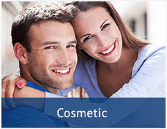 smiling couple with their arms around each other and a text bar that says 'cosmetic'