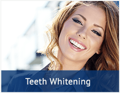 smiling younger woman with a text bar at the bottom that says 'Teeth whitening'