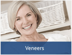 smiling older woman with a text box at the bottom that says 'veneers'
